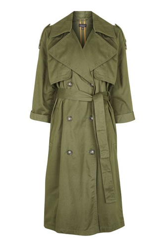 Embroidered Khaki Trench Coat