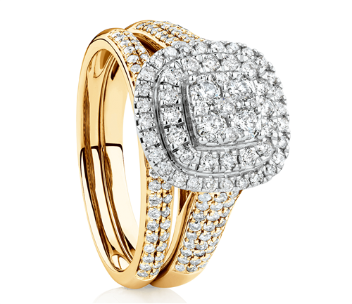1 carat diamond bridal set. Available in Yellow Gold, Rose Gold and White Gold.