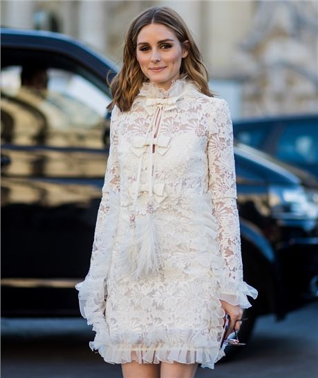 Olivia Palermo Wears White Lace Giambattista Valli Dress ...