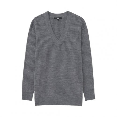 Merino Blend Ribbed V Neck Sweater