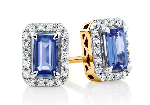 Tanzanite & 0.15 carat diamond earrings