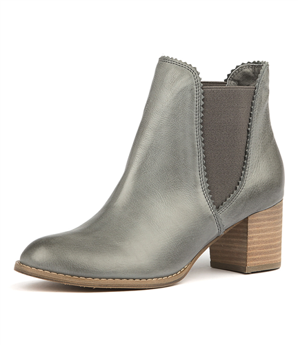 Belle Grey Leather Boots