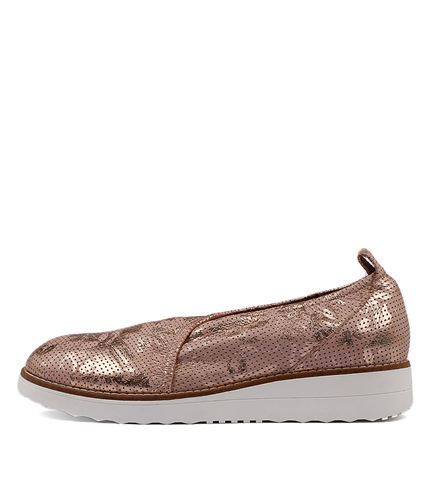 Ohbabe Pale Pink Flora Pin Punch Leather Flats